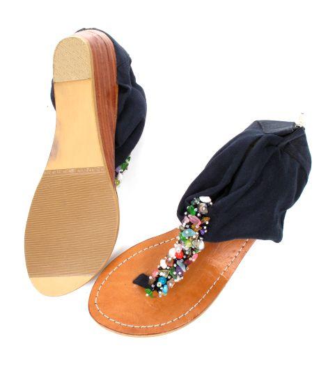 Sandalia con piedras natuirales y talón en material con cremallera, planta de piel. tacón de 7cm - detalle Comprar al mayor o detalle