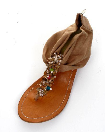 Sandalia con piedras natuirales y talón en material con cremallera, [ZDE06] para Comprar al mayor o detalle