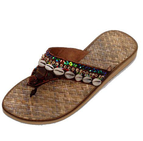 Sandalias étnicas de Rattan y conchas con suela de goma Comprar - Venta Mayorista y detalle