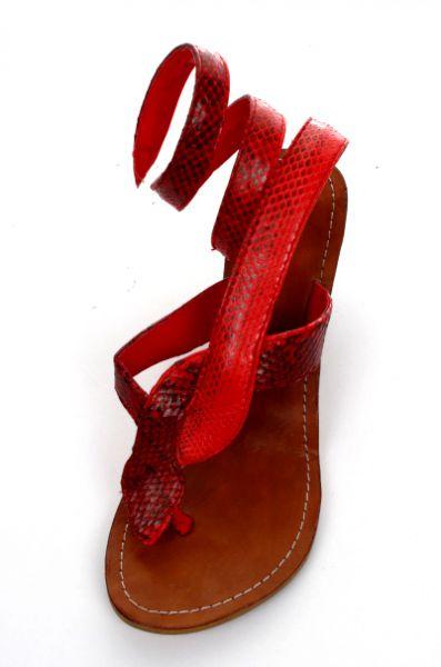 Sandalia alta con tacón de 7cm serpiente enroscada, realizada Comprar - Venta Mayorista y detalle