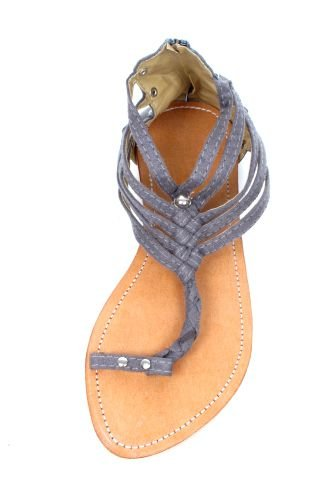 Sandalia dedo, gladiator de material con remaches y cremallera en Comprar - Venta Mayorista y detalle