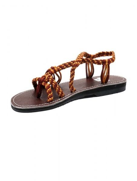 Sandalias Zapatos Zuecos - Sandalia tiras algodón marrones. [ZSC11] para comprar al por mayor o detalle  en la categoría de Sandalias Hippies Étnicas.