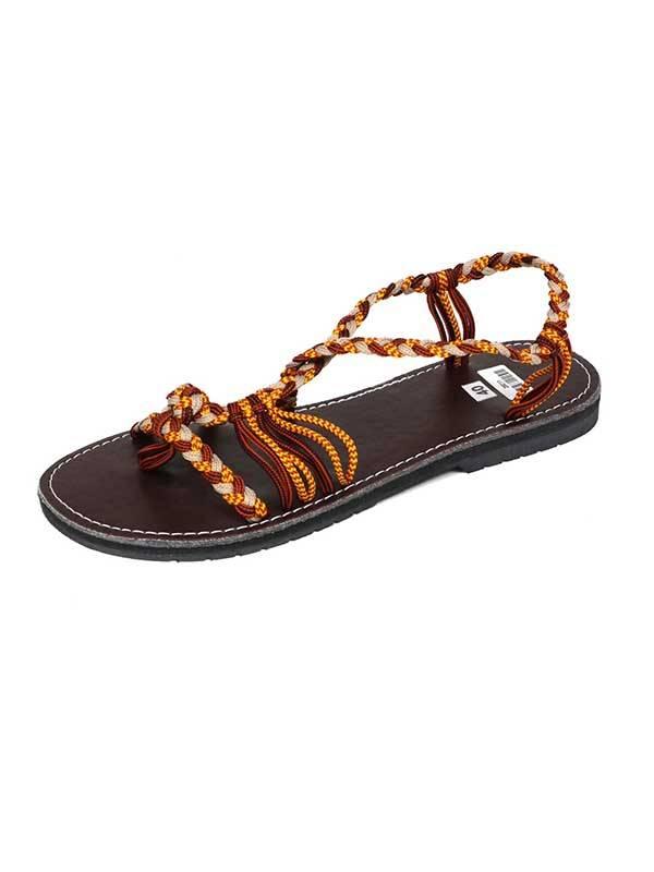 sandalia tiras algodón marrones. sandalias realizadas con tiras Comprar - Venta Mayorista y detalle