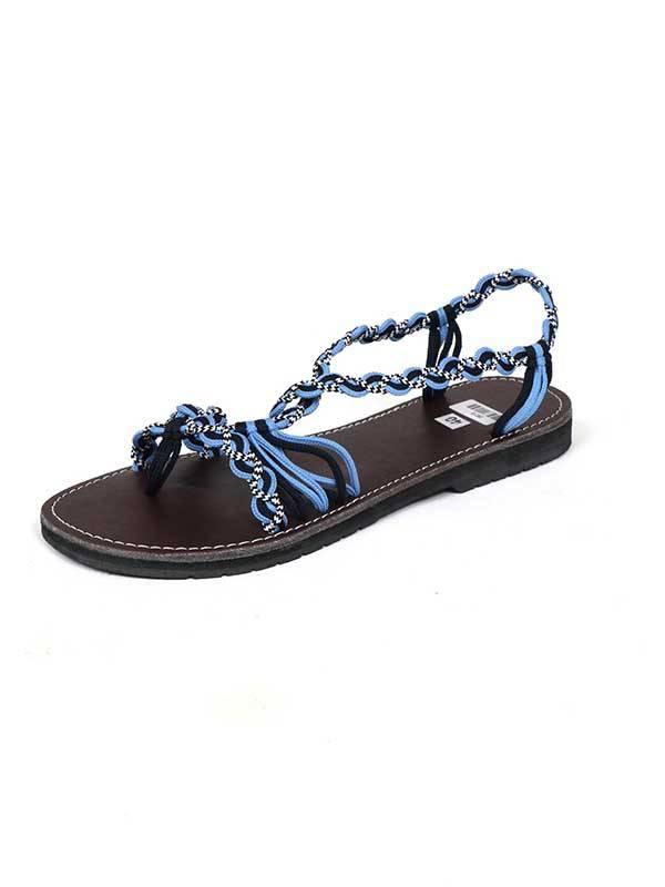 Sandalias Zapatos Zuecos - Sandalia hippie tiras algodón AZUL. ZSC13 para comprar al por Mayor o Detalle en la categoría de Sandalias Hippies Étnicas