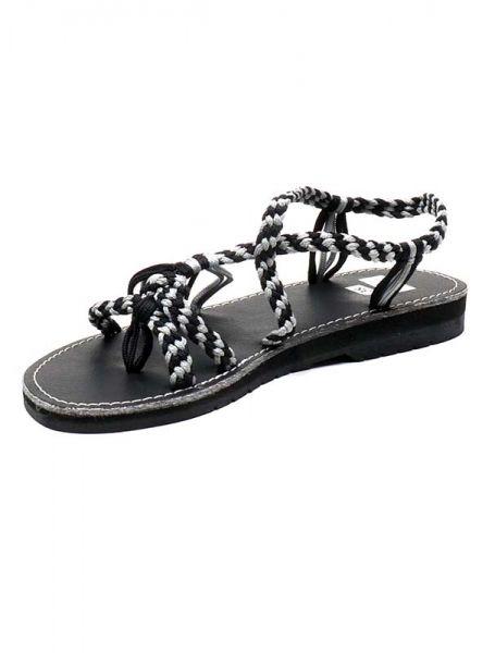 Sandalias y Zuecos - Sandalia hippie tiras algodón Negro. ZSC14 para comprar al por Mayor o Detalle en la categoría de Sandalias Hippies Étnicas