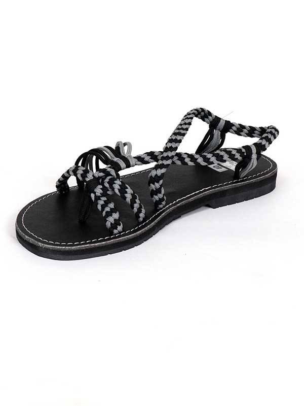 Sandalia hippie tiras algodón Negro. Comprar - Venta Mayorista y detalle