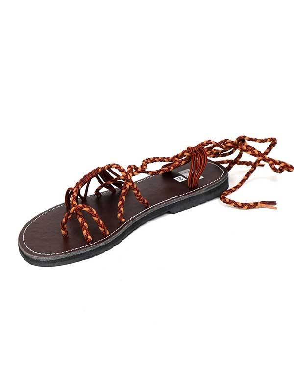 Sandalias y Zuecos Hippies - Sandalia Romana de cordones Marrones ZSC15 para comprar al por Mayor o Detalle en la categoría de Sandalias Hippies Étnicas