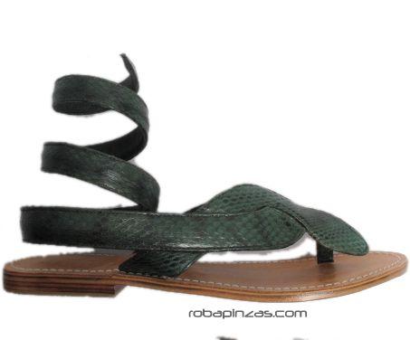 Sandalia: suela de Piel planta de piel y empeine en piel de serpiente Comprar - Venta Mayorista y detalle