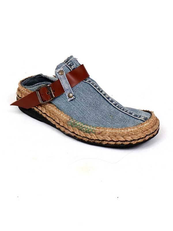 Sandalias y Zuecos Hippies - Zueco Jeans Reciclado y cáñamo ZZSA01 para comprar al por Mayor o Detalle en la categoría de Sandalias Hippies Étnicas